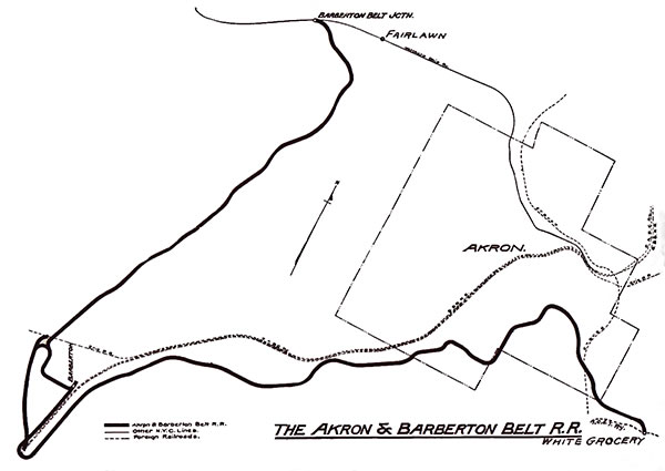 Map of Akron & Barberton Belt Railroad