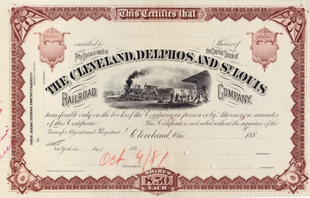 Cleveland Delphos & St. Louis Railroad Stock