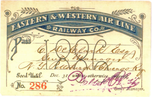 Eastern & Western Airline Railway Rail Pass