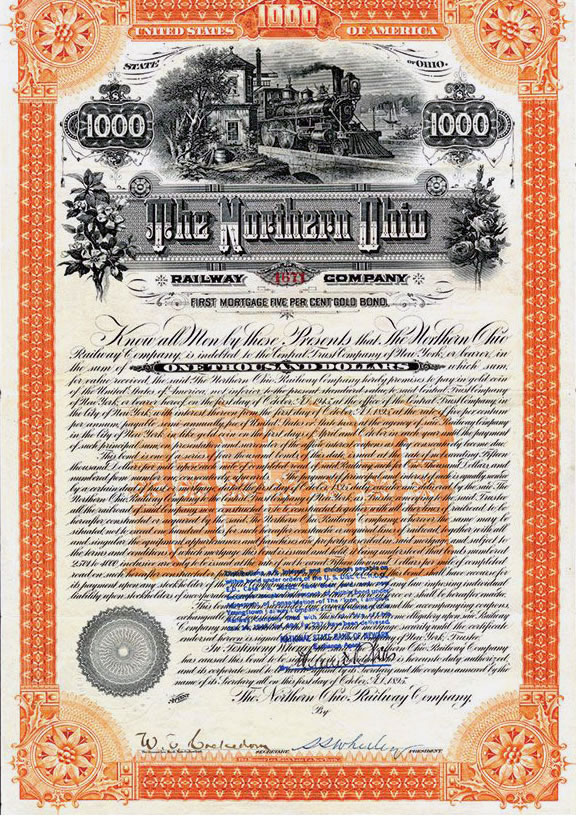 Stock Certificate of the Northern Ohio Railway 1895